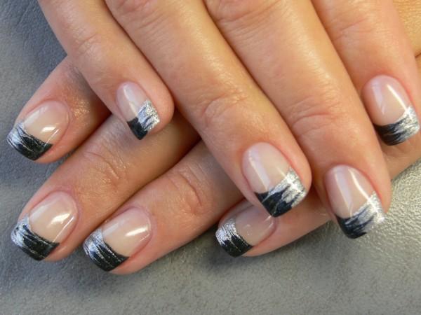 Black And Blue Nail Art Design